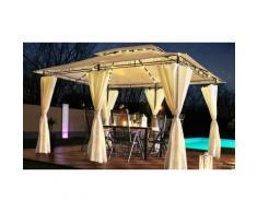 Pavillon de jardin Swing&Harmonie Minzo à éclairage LED 3 x 4 m : Marron