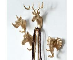 Crochet mural Animal créatif, crochet décoratif en PVC, en silicone, pour salle de bain, cerfs,