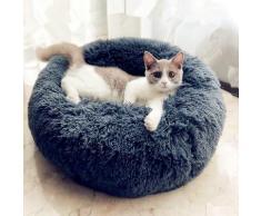 Lit rond en peluche doux pour animal de compagnie chat et chien, panier en fourrure, pour la maison,
