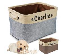 Panier de rangement personnalisé pour jouets de chien, sac en toile pliable pour jouets pour animaux