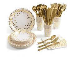 Vaisselle jetable en or blanc, fournitures de fête, service de table, assiettes, tasses, nappe, pour