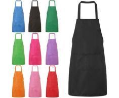 Tablier de travail unisexe en toile, noir, bavoir réglable, pour la cuisine, avec poches à outils,