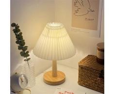 Lampe plissée Vintage avec Usb, lumière de Table à intensité variable, style coréen, avec perle Led,