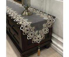 Chemin de Table ovale brodé pour Table de thé, Europe, meuble TV, dentelle, pendentif, pompon,