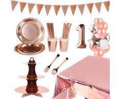Nappe à paillettes or Rose, décoration de Table, assiettes, tasses, support à gâteaux, fournitures