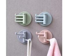 Crochet adhésif rotatif sans couture, support solide, cintre mural de cuisine, salle de bains,