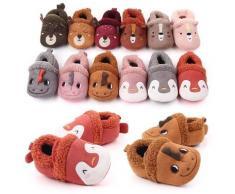 Adorables pantoufles antidérapantes pour bébés, chaussures de berceau en tricot pour garçons et