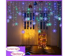 Rideau lumineux LED flocon de neige, guirlande lumineuse clignotante imperméable pour décoration de