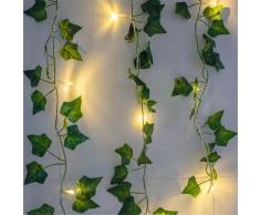 Guirlande lumineuse à 20led avec feuilles vertes, 2M, fausse vigne, féerique, alimentée par