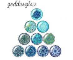 Cabochon rond en verre à motifs bleu eau, style bohémien, 10 pièces, 12mm/18mm/20mm/25mm/30mm, photo