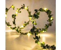 Guirlande lumineuse en fil de cuivre, 2M, 20led, guirlande de fleurs artificielles, feuille de soie,