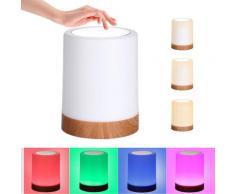 Lampe de chevet à commande tactile, Rechargeable par USB, lumière à intensité variable, lumière