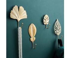 Mini crochet créatif en forme de feuille or vert sans poinçon, crochet pour manteau, pendentif mural