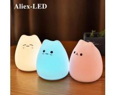 Lampe de chevet en Silicone avec capteur tactile RGB, USB, design de dessin animé, luminaire