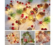 Guirlande lumineuse à 20LED, féerique, noël, cône de pin, cloche, décoration, fête du nouvel an,