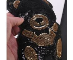 Patch brodé ours mignon noir or, grand fer sur paillettes, appliques pour Badges de vêtements,