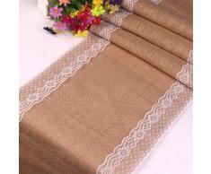 Nappe en toile de jute et dentelle blanche, chemin de table en lin et tissu naturel vintage, burlap,