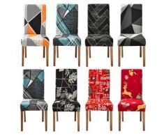 Housse de chaise de salle à manger, motif géométrique, élastique, extensible, amovible, pour fête de