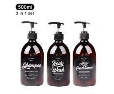 Ensemble 3 en 1 distributeur de savon de salle de bain 500ml bouteille de shampooing lavage du corps