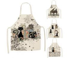 Tablier de cuisine à motif de chat mignon pour femmes, 1 pièce, bavoirs en lin de coton, nettoyage