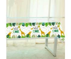 Nappe de table jetable thème Wild One Safari Jungle, fournitures de décoration pour fête prénatale