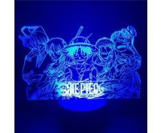Veilleuse Luffy Sanji Zoro Nami 3D, une pièce, Illusion de lampe de Table tactile, Action optique,