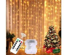 Rideau lumineux féerique avec fil de cuivre, rideau, 3x3m, 300, à piles, pour noël, mariage, fête,