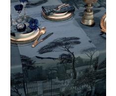 Chemin de table antitache déperlant pur coton noir 54X180