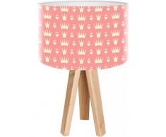 Lampe de chevet enfant trépied bois clair abat jour rose
