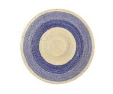 Tapis rond en jute tressée naturelle et bleu pour chambre, salon D100