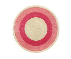 Tapis rond en jute tressée naturelle et rose pour chambre, salon D100