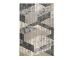Tapis motif effet 3D relief tons de gris pour salon/ chambre 200x133