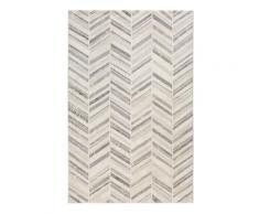 Tapis in/outdoor tissé plat motif chevrons vintage gris 133x200