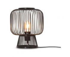 Lampe de table en bambou noir H30cm