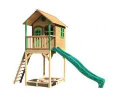 Maisonnette en bois brun et vert avec toboggan vert
