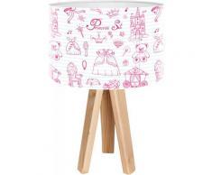 Lampe de chevet enfant trépied bois abat jour blanc et rose