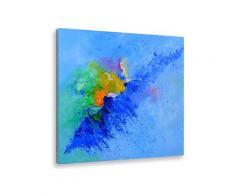 Tableau art abstrait vague de bleu Toile imprimée
