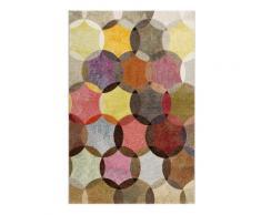 Tapis motif cercles vintage nuances vives pour salon, chambre 290x200