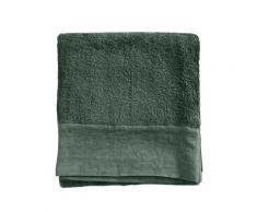 Serviette de toilette finition lin lavé vert anglais 100x150