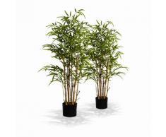Lot de 2 plantes artificielles bambou intérieur H1m