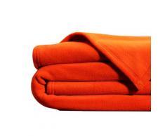Couverture polaire 260x240 orange en microfibre 350g/m²