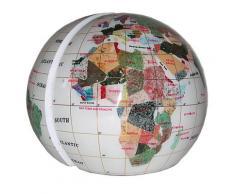 Serre livres globe terrestre en pierres fines blanc