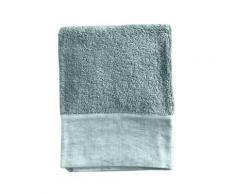 Serviette de toilette finition lin lavé vert d'eau 100x150