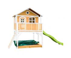 Maisonnette en bois brun et blanc sur pilotis avec toboggan vert