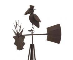 Grande girouette éolienne corbeau à chapeau en métal marron