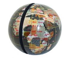 Serre livres globe terrestre en pierres fines noir