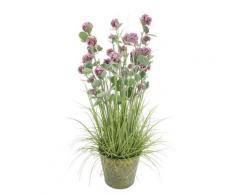 Plante artificielle boule de neige à fleurs roses H78