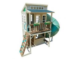 Maisonnette en bois blanc avec toboggan tubulaire vert