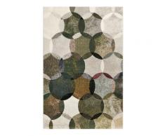 Tapis motif cercles vintage vert/gris pour salon, chambre 170x120