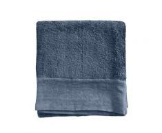 Serviette de toilette finition lin lavé bleu nuit 100x150